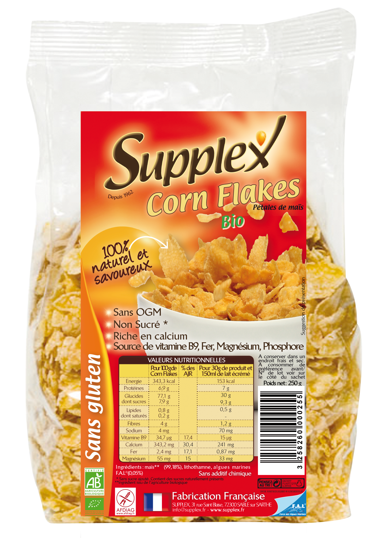 Corn Flakes Bio Sans GLuten Supplex
